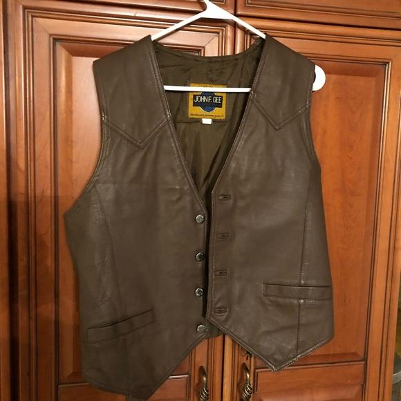 john f gee Jackets & Blazers - NWOT faux leather vest